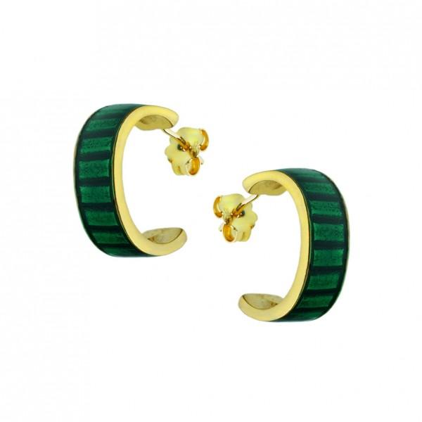 Σκουλαρίκια κρίκοι ασήμι 925 επιχρυσωμένα με σμάλτο GRE-60234