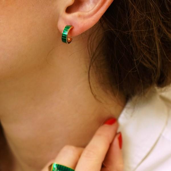 Σκουλαρίκια κρίκοι ασήμι 925 επιχρυσωμένα με σμάλτο GRE-60236
