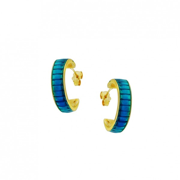 Hoop earrings in silver 925 gold plated with enamel GRE-60237