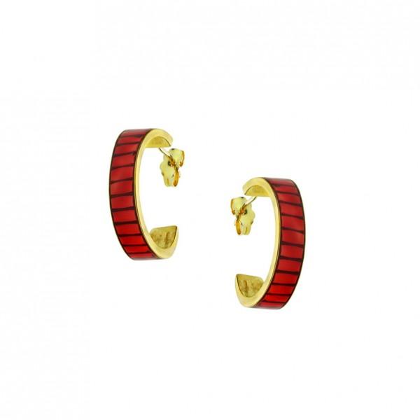 Σκουλαρίκια κρίκοι ασήμι 925 επιχρυσωμένα με σμάλτο GRE-60238