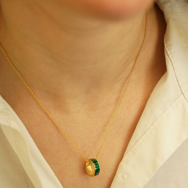 Necklace in silver 925 gold plated with green enamel GRE-60223