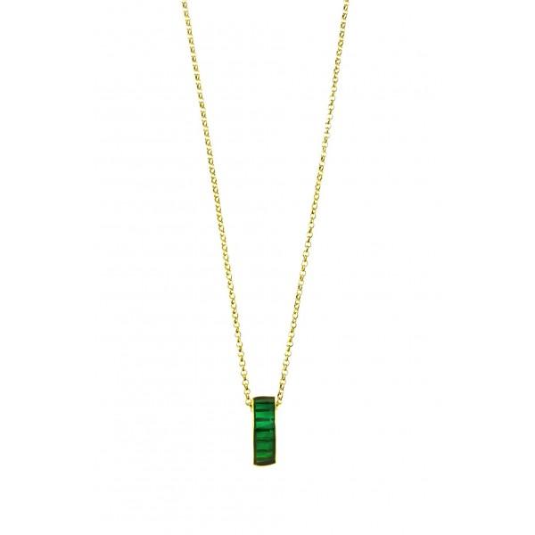 Κολιέ ασήμι 925 επιχρυσωμένο με πράσινο σμάλτο GRE-60223