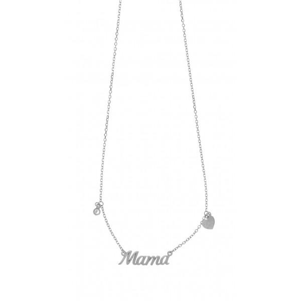 Κολιέ μαμά ασήμι 925 επιπλατινωμένο με ζιργκόν GRE-51866
