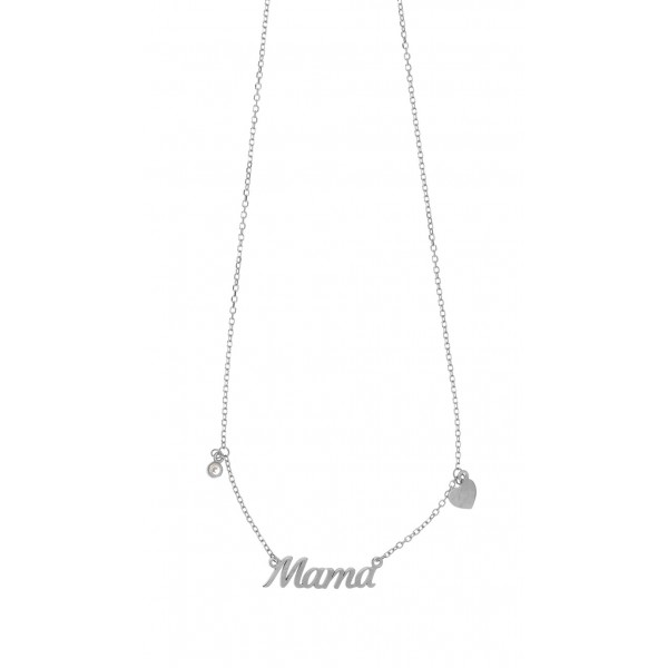 Mother necklace in silver 925 platinum plated with zirconia GRE-51866