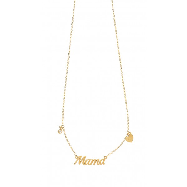 Mother necklace in silver 925 gold plated plated with zirconia GRE-51868