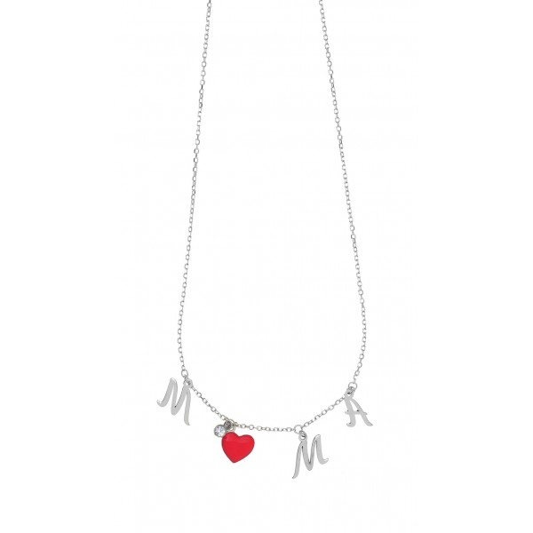 Mother necklace in silver 925 platinum plated with enamel GRE- 51840