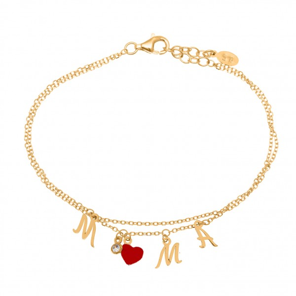 Mother bracelet in silver 925 gold plated with zirconia and enamel GRE-51873