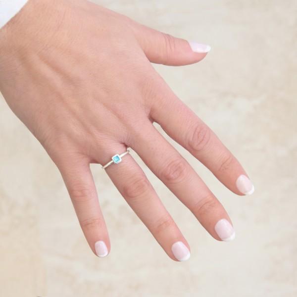 Χειροποίητο τετράγωνο μονόπετρο δαχτυλίδι ασήμι 950 με σμάλτο KON-123E