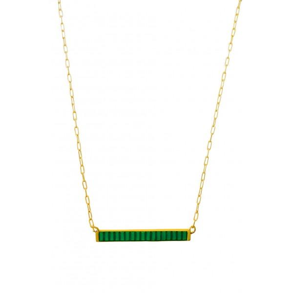 Κολιέ ασήμι 925 επιχρυσωμένο με πράσινο σμάλτο GRE-60225