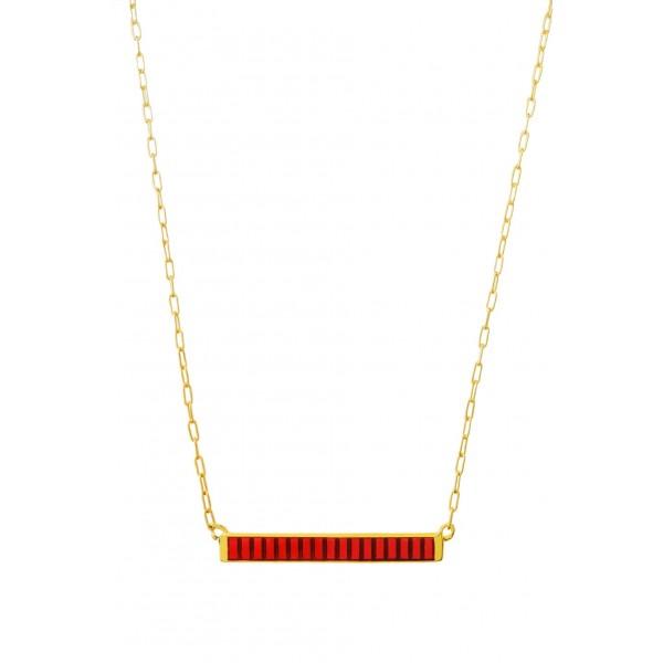 Κολιέ ασήμι 925 επιχρυσωμένο με κόκκινο σμάλτο GRE-60224