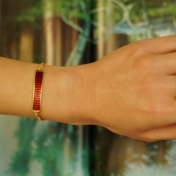 Βραχιόλι ασήμι 925 επιχρυσωμένο με κόκκινο σμάλτο GRE-60227