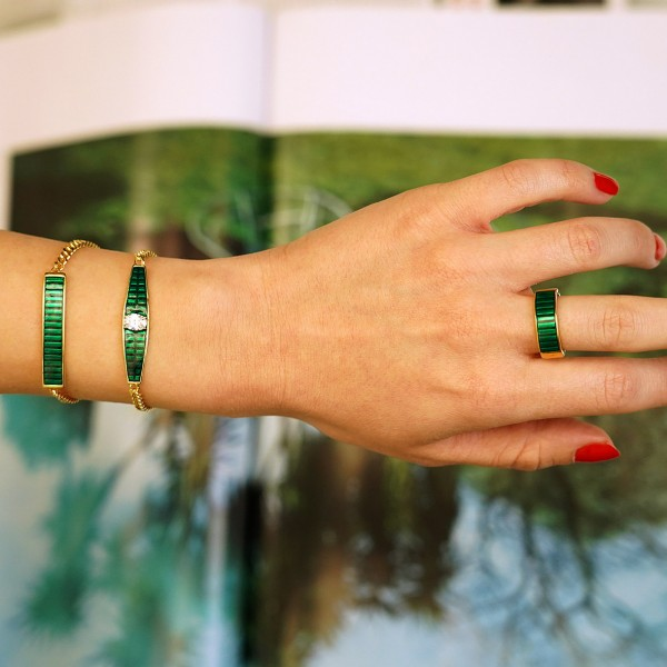 Βραχιόλι ασήμι 925 επιχρυσωμένο με πράσινο σμάλτο GRE-60228