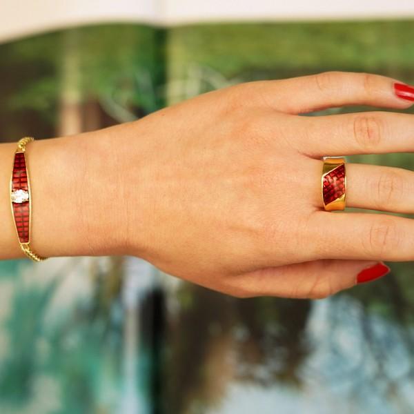 Βραχιόλι ασήμι 925 επιχρυσωμένο με κόκκινο σμάλτο και ζιργκόν GRE-60231