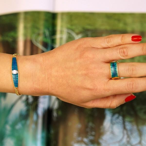 Βραχιόλι ασήμι 925 επιχρυσωμένο με μπλε σμάλτο και ζιργκόν GRE-60230