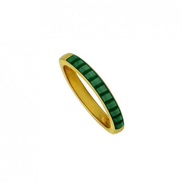 Δαχτυλίδι ασήμι 925 επιχρυσωμένο με πράσινο σμάλτο GRE-60253