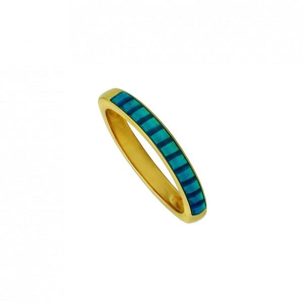 Δαχτυλίδι ασήμι 925 επιχρυσωμένο με μπλε σμάλτο GRE-60252