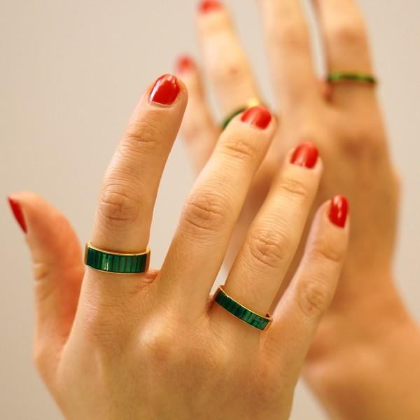Δαχτυλίδι ασήμι 925 επιχρυσωμένο με πράσινο σμάλτο GRE-60248