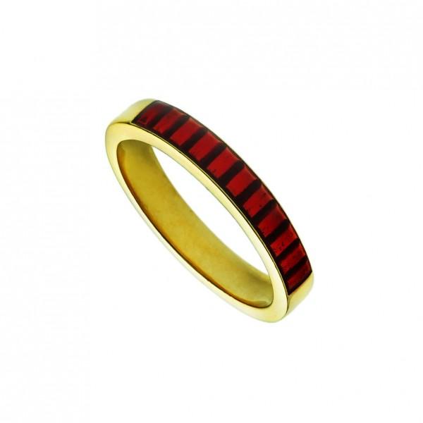 Δαχτυλίδι ασήμι 925 επιχρυσωμένο με κόκκινο σμάλτο GRE-60249