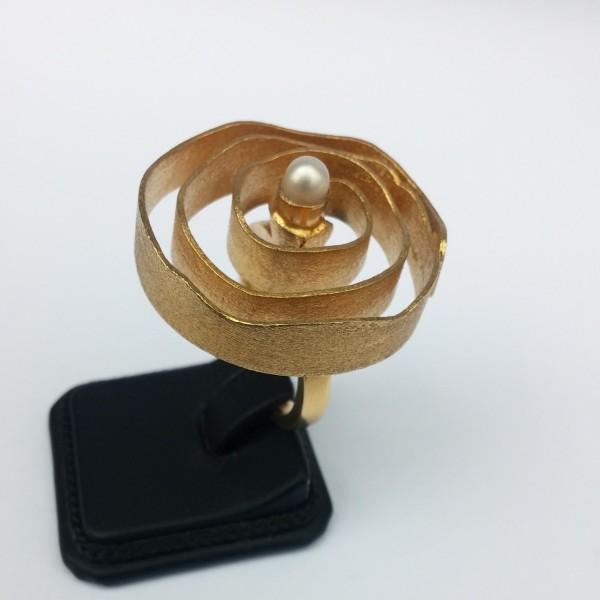 Δαχτυλίδι ασήμι 925 χειροποίητο επιχρυσωμένο πέρλα