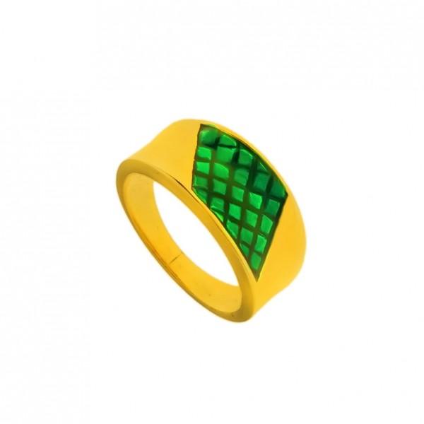 Δαχτυλίδι ασήμι 925 επιχρυσωμένο με πράσινο σμάλτο GRE-60242