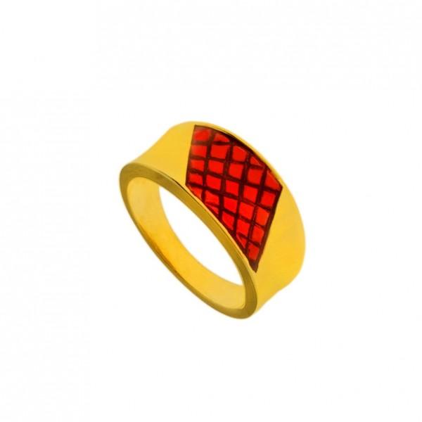 Δαχτυλίδι ασήμι 925 επιχρυσωμένο με κόκκινο σμάλτο GRE-60244