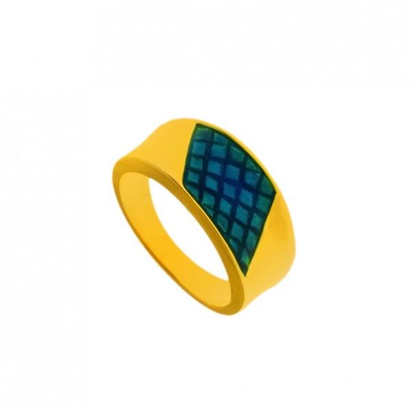 Δαχτυλίδι ασήμι 925 επιχρυσωμένο με μπλε σμάλτο GRE-60243
