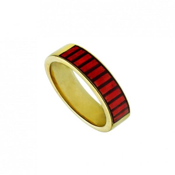 Δαχτυλίδι ασήμι 925 επιχρυσωμένο με κόκκινο σμάλτο GRE-60247