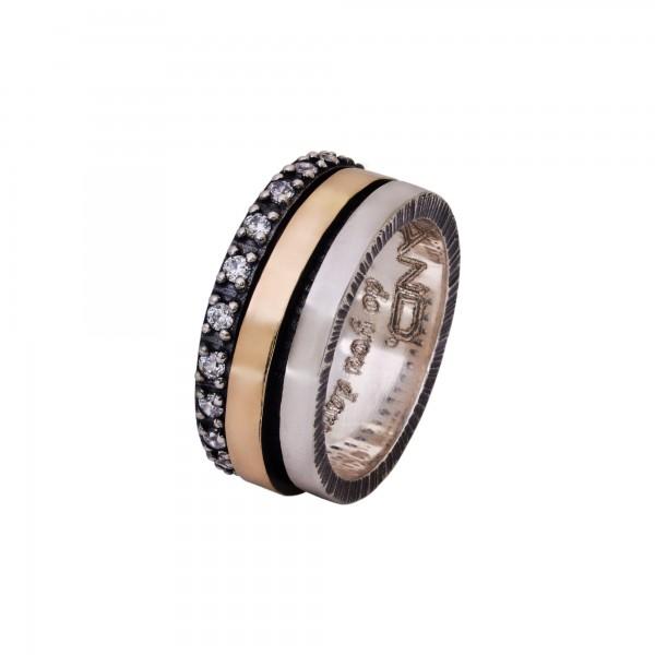 Χειροποίητο Δαχτυλίδι Ασήμι 925 - Χρυσό 18Κ KD-4027