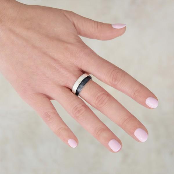 Χειροποίητο δίχρωμο δαχτυλίδι ασήμι 925 BAT-D168B