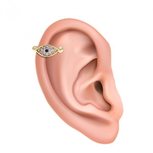 Ear cuff μονό ασήμι 925 με λευκά ζιργκόν