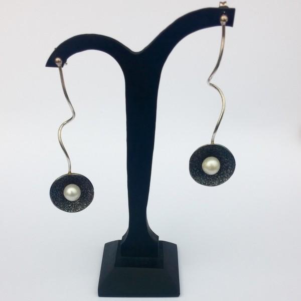Σκουλαρίκια κρεμαστά ασήμι 925 χειροποίητα οξειδωμένα σφυρήλατα πέρλα 90bb4925108