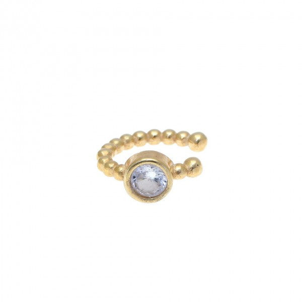 Ear cuff μονό ασήμι 925 με λευκά ζιργκόν GRE-58044