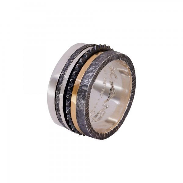 Χειροποίητο Δαχτυλίδι Ασήμι 925 - Χρυσό 18Κ KD-3153A