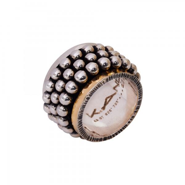 Χειροποίητο Δαχτυλίδι Ασήμι 925 - Χρυσό 18Κ KD-3152