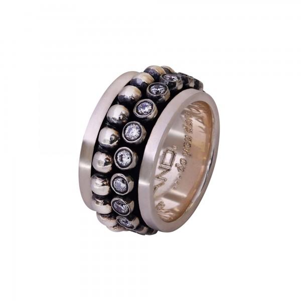 Χειροποίητο Δαχτυλίδι Ασήμι 925 με λευκά ζιργκόν KD-2102