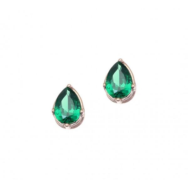 Σκουλαρίκια δάκρυ ασήμι 925 με ροζ επιχρύσωση και πράσινα ζιργκόν GRE-43792