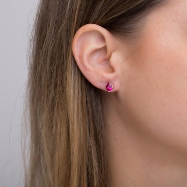 Σκουλαρίκια δάκρυ ασήμι 925 με ροζ επιχρύσωση και φούξια ζιργκόν GRE-43791