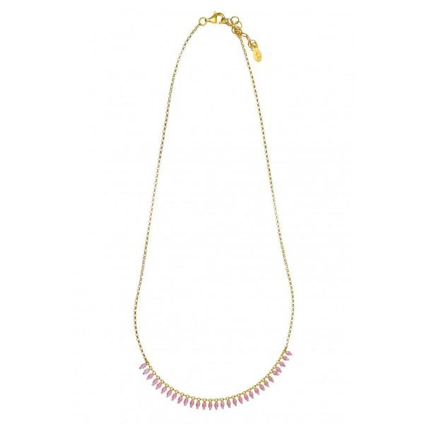 Κολιέ ασήμι 925 επιχρυσωμένο με ροζ σμάλτο GRE-57842