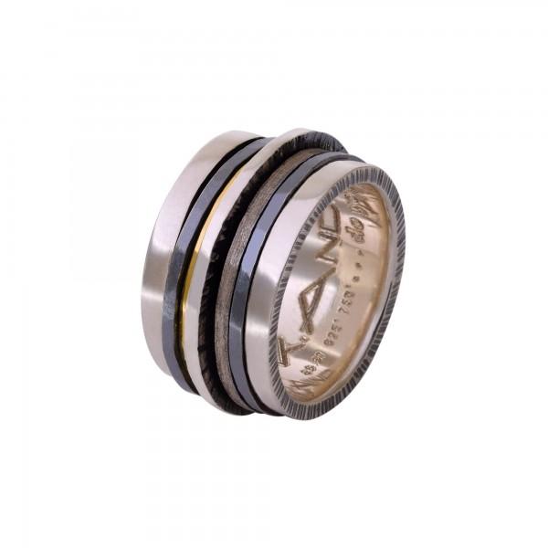 Χειροποίητο Δαχτυλίδι Ασήμι 925 - Χρυσό 18Κ KD-3131
