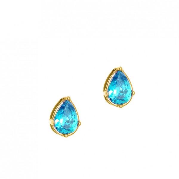 Σκουλαρίκια δάκρυ ασήμι 925 επιχρυσωμένα με γαλάζια ζιργκόν GRE-60102