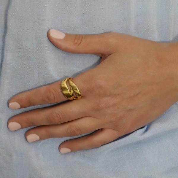 Δαχτυλίδι ασήμι 925 επιχρυσωμένο GRE-60978
