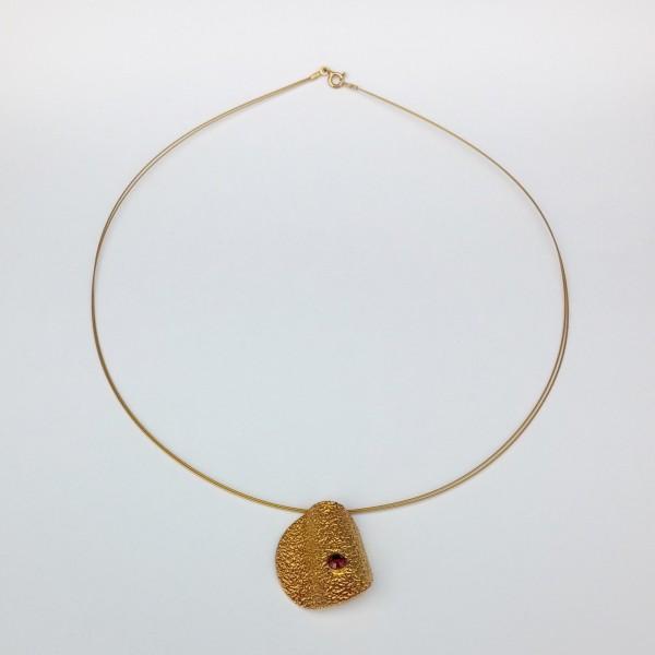 Κολιέ ασήμι 925 χειροποίητο επιχρυσωμένο σφυρήλατο ημιπολύτιμη πέτρα
