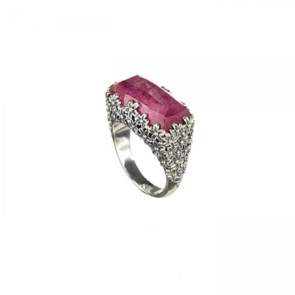 Χειροποίητο δαχτυλίδι ασήμι 925 με ορυκτή πέτρα GER-2896