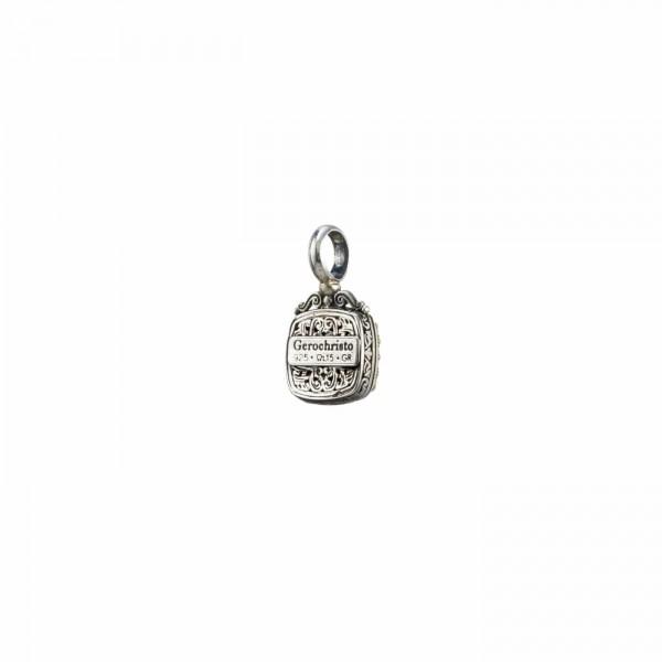 Χειροποίητο Μενταγιόν τετράγωνο ασήμι 925 με ορυκτή πέτρα GER-1681C