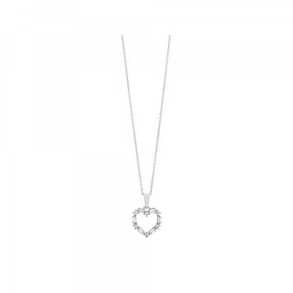 Κολιέ καρδιά ασήμι 925 επιπλατινωμένο με ζιργκόν PS/8TA-KD031-1