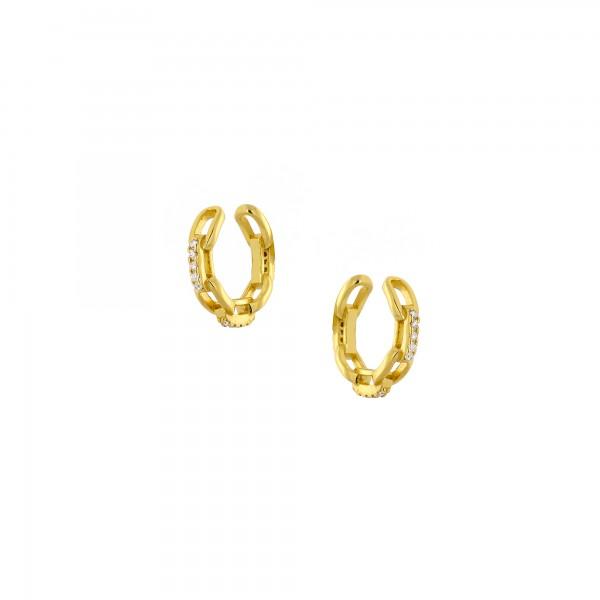 Ear cuff μονό ασήμι 925 επιχρυσωμένο με ζιργκόν PS/8TA-SC031-3