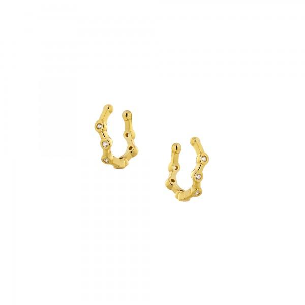 Ear cuff μονό ασήμι 925 επιχρυσωμένο με ζιργκόν PS/8TA-SC030-3