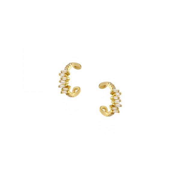 Ear cuff μονό ασήμι 925 επιχρυσωμένο με ζιργκόν PS/8TA-SC035-3