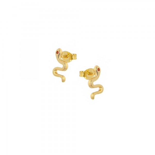 Σκουλαρίκια φίδι καρφωτά ασήμι 925 επιχρυσωμένα με ζιργκόν PS/8TA-SC017-3R