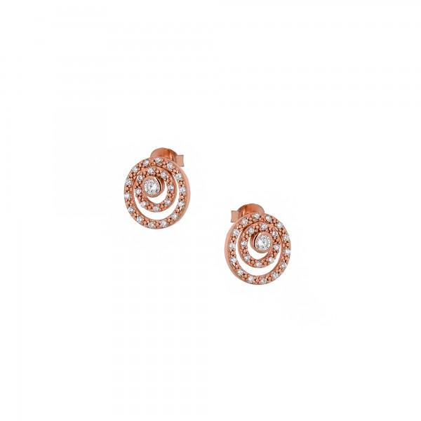 Σκουλαρίκια καρφωτά ασήμι 925 με ροζ επιχρύσωση και ζιργκόν PS/8TA-SC041-2